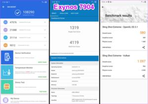 samsung exynos 7904 vs qualcomm snadragon 660 antutu geekbench scores
