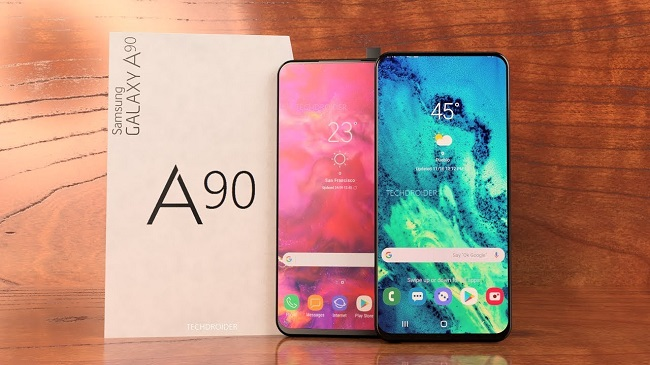 samsung galaxy a90 in display fingerprint sliding pop out camera features snapdragon 7150 punch hole camera display
