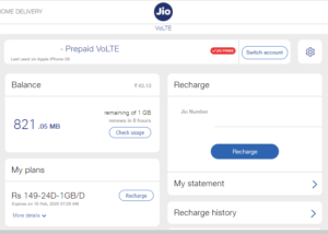 jio net usage and balance check using official site and website