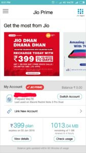 check jio dats balance and data usage online using myjio official app