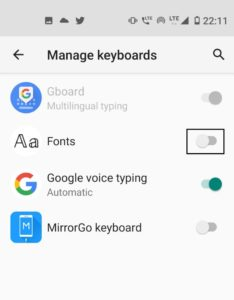 how to set different keyboard in whatsapp