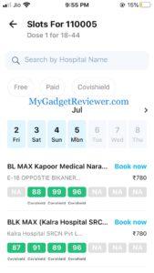 coronavirus vaccine slot booking